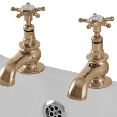 Pair Of Deck Mounted Bath Taps Brass 4