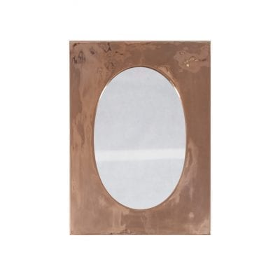 Oval Mirror With Oblong Copper Frame 8