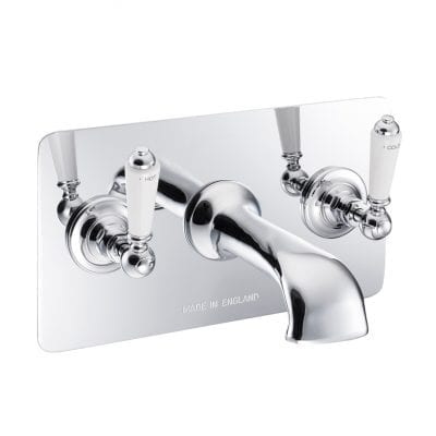 Wall Mounted Bath Filler With Concealing Plate Chrome 9